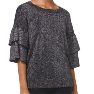 NWT Michael Kors Silver Metallic Bell Sleeve Top